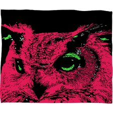 Romi Vega Pink Owl Polyester Fleece Throw Blanket