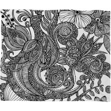 Valentina Ramos Bird in Flowers Black White Polyester Fleece Throw Blanket