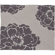 Caroline Okun Winter Peony Polyester Fleece Throw Blanket