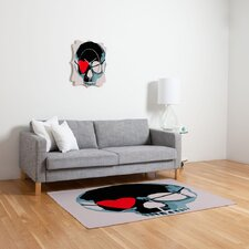 Amy Smith Skull with Heart Eyepatch Novelty Rug