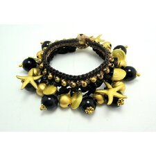 Onyx and Brass Beads Bracelet