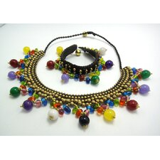 Multicolored Stones and Brass Beads Necklace and Bracelet Set