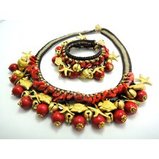 Red Coral Brass Bead Necklace and Bracelet Set