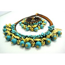 Turquoise and Brass Beads Necklace and Bracelet Set