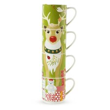 Kris Kringle 14 oz. Reindeer Mug (Set of 4)