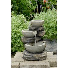Polyresin and Fiberglass Tiered Multi Bowls Tabletop Fountain