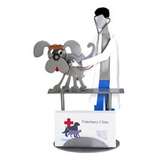 Desk Accessory Veterinarian Examining Dog Business Card Holder