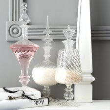 3 Piece Paris Left Bank Verre Fluted Decanter Set