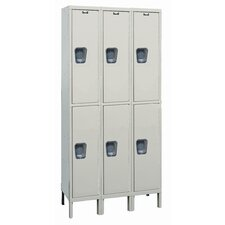 Maintenance-Free Quiet Stock Lockers - Double Tier - 3 Sections (Unassembled)