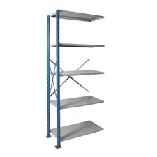 "H-Post Shelving 123"" High Capacity Open Type Add-on Unit with 5 Shelves"