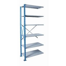 "H-Post Shelving 87"" High Capacity Open Type Add-on Unit with 6 Shelves"