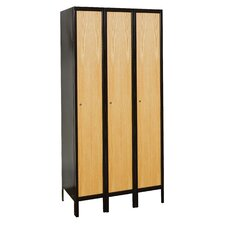 Metal-Wood Hybrid Locker Single Tier 3 Wide (Assembled)