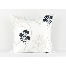 White euro sham with floral and scroll accents