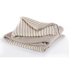 Luxe Boutique Cotton Acrylic Striped Knit Throw