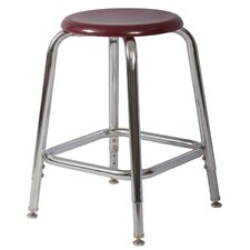 Adjustable Height Chrome Round Tube Stool