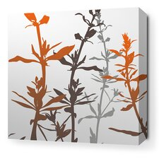 Morning Glory Wildflower Stretched Wall Art in Silver and Rust