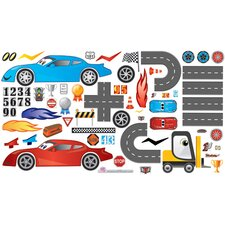 Peel and Play Race Car Wall Play Set