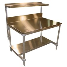 Aluminum I Frame Work Table with Back Splash and Stainless Steel Top