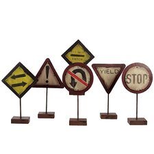 Metal Traffic Signs Statues (Set of 6)