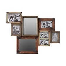 Wooden Multi-Photo Mirrored Picture Frame