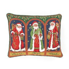 Three Santas Needlepoint Pillow