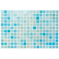 "Colour Blend 12-1/5"" x 18-1/10""  Glass Mosaic in Aqua"