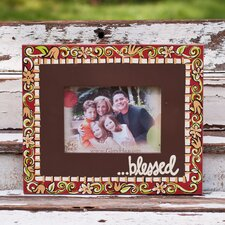 """Blessed"" Floral Picture Frame"