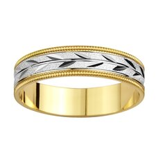 14k Two-tone Gold Men's Milgrain and Leaf Design Easy Fit Wedding Band