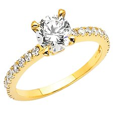 14K Gold Round Cubic Zirconia Pave Engagement Ring