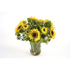 Silk Sunflowers in Glass Vase