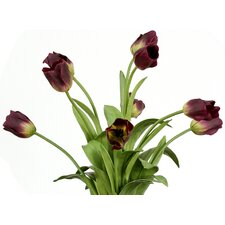 Silk Tulips in Triangular Vase