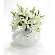 Silk Bouquet in Spotted Vase