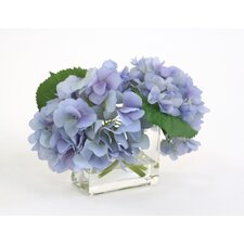 Silk Hydrangeas in Glass Vase