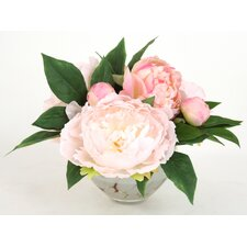 Silk Peonies in Spotted Bowl