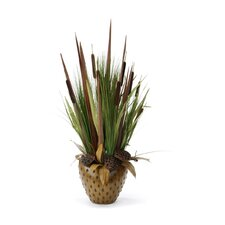 Silk Cattails, Grass and Pods in Pillow Vase