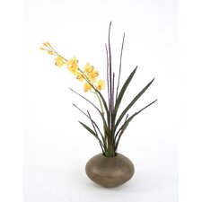 Silk Cymbidium Orchid in Crystal Pot