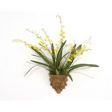Silk Oncidium Orchids in a Summerdale Acanthus Wall Sconce