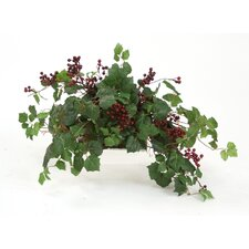 Topper with Silk Danica Ivy, Galax Leaves and Wild Berries on Tray