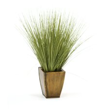 Faux Basil Grass in an Square Planter
