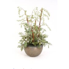 Silk Willow Branches and Eucalyptus Spray in Fire Glazed Pot
