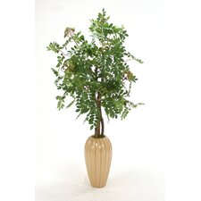 Silk Mountain Ash Floor Plant in Tall Earthenware Vase