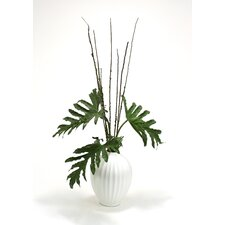 Silk Selloum Philodendron Mix in Fluted Porcelain Vase