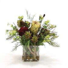 Faux Arrangement in Glass Vase