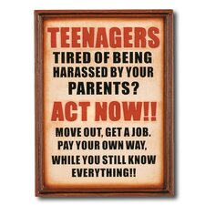 """Note To Your Teenagers"" Outdoor Sign"