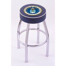 US Military Single Ring Swivel Barstool with Chrome Base