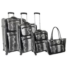 Madison Ave Snakeskin 4 Piece Luggage Set
