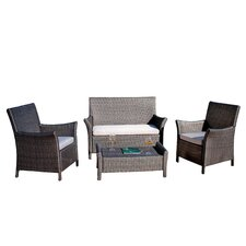 Oahu Wicker Outdoor 4 Piece Lounge Seating Group with Cushions