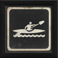 Kayaking Sign Black Wall Art