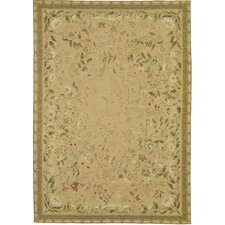 Fresco Needlepoint Pavilion Wheat Gold Flowers Rug