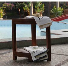 2 Tier Classic Spa Teak Corner Outdoor Shelf